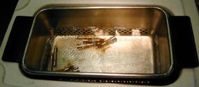 Start of cleaning in Branson model 2510 Ultrasonic Cleaner